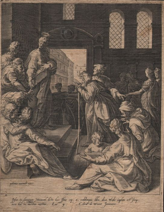 Adriaen de Weerdt (1510 - 1590) -  Christ teaching in the Synagogue - 1573