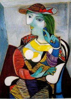 Pablo Picasso (after) - Portrait of Marie Therese Walter. Hand signed Collection Domaine Picasso