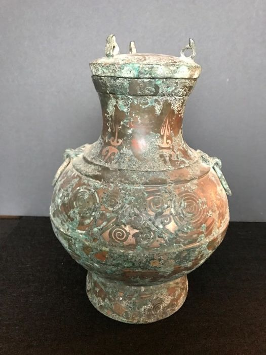 Chinese Bronze Vase Hu With Lid From The Han Dynasty 25 X 17 Cm