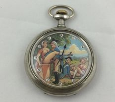 Doxa pocket watch with erotic scene on the dial - circa 1940/1950