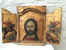 Greek icon - Triptych - Wood - Hand-painted - 20th century