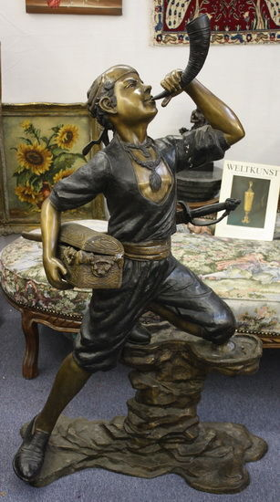 Bronze sculpture figure height 140 cm 42 kg., France, 20th century