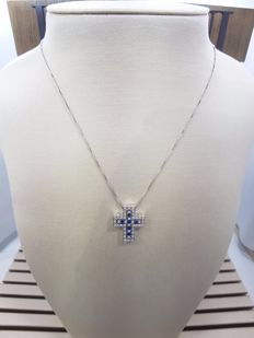 Damiani 18ct White Gold Sapphire & Diamonds Two Part Cross, Necklace Length 47cm & Pendant Length 2.5cm