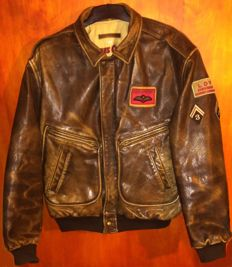 Chevignon leather pilot-bomber jacket, a rare model, made in France