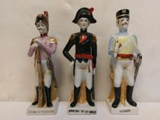 3 Napoleon figurines with names , France