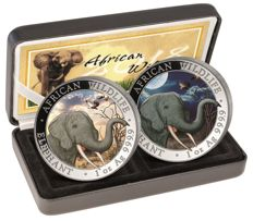 Somalia - 2 x 100 shillings - African Wildlife elephant Day & Night set 2018 - colour edition with box & certificate - edition of only 500 pieces
