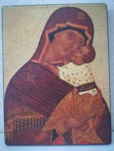 Icon Virgin of tenderness of 1963 in solid wood (editions Braun Paris)