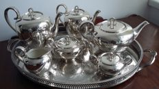 Feinsilberauflage silver 1000/000 juwelierhinze hamburg tea set 6 pieces  solide silver 1000 ceramic made in germany.&tray silver plated made in england.