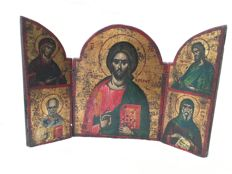 Greek icon - Triptych - Wood - Hand-painted