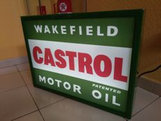 Illuminated sign CASTROL MOTOR OIL, 1 side. Fluorescent. Spain 20th century