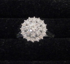 Flower ring / Entourage with brilliant cut diamonds set in white gold