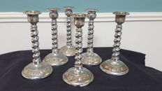 Six silverplated spiral tapered candlestick holders from England