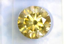 * NO RESERVE PRICE * –  Fancy VIVID Greenish Yellow-  2.55 ct – SI1 – Excellent cut