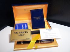 WATERMAN IDEAL Paris 18 k gold fountain pen nib, gold plated hardware, and resin body in excellent condition, never used