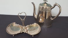William Hulton & Son silver plated tea pot and shell shape tray