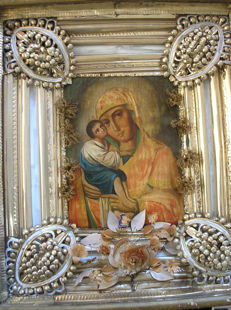 Ortodox russian icon of virgin Mary  hand painted - end of 19 th century