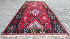 Handwoven Turkish Kilim Rug Oushak Rug 4.23 X 10.66 ft ( 129 X 325 cm)