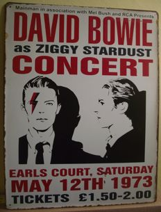 Fantastic, David Bowie as Ziggy Stardust Concert Vintage Large Metal Sign Poster 30 cm x 40 cm.