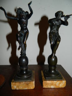 Pan and Bacchante - a pair of bronze statuettes in the manner of Barthélemy Prieur - France - 18th/19th century