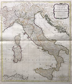 Italy; D'Anville / Laurie & Whittle - A New Map of Italy with the Islands of Sicily, Sardinia & Corsica. - 1794