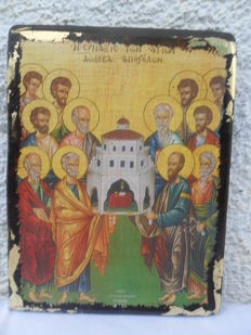 The congregation of the saints Twelve Apostles - Cypriot old wood -Russia,20th century