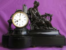 Marble tabletop clock with sculpture - France, 19th/20th century