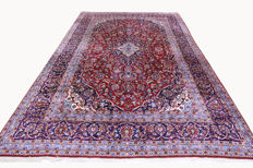 Fine Persian carpet Kashan 3.52 x 2.57 red hand-knotted, high-quality new wool, oriental carpet, very beautiful