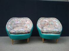 Three-seater sofa and four armchairs - Vintage Design - Italy, mid-20th century