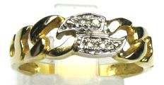 Diamond ring solid 14kt / 585 yellow gold, size 56/17.8mm