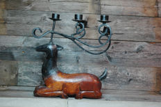 Deer Candle Holder for 5 candles / metal and wood