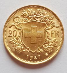 Switzerland - 20 Francs 1947 Bern 'Vreneli' - gold
