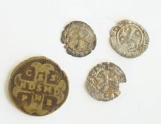 3 Crussader coins from the Holy War, Crussaders were believed to be the origin of the Freemasonery + a token with IHS (Jesus)