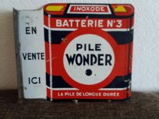 Double-sided enamel board for inoxode batterie n 3 - 1930s