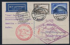 German Empire - Zeppelin - 1930 - 2 RM and 4 RM South American Journey on card to tour, Michel 438-439