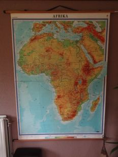 Large intact school poster / school map of Africa