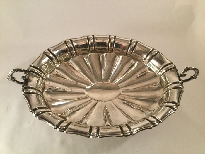 Large silver lobed fruit bowl/ centrepiece on beautiful feet - Portugal - 20th century
