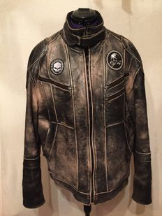 Beautiful leather motorcycle jacket size XL old school