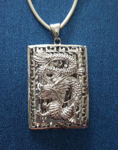 999 silver  necklace with Dragon pendant - 55cm