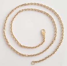 18 kt solid yellow gold cable chain necklace - Length: 50 cm