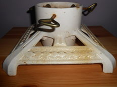 Large old Christmas tree stand white -gold Art Deco
