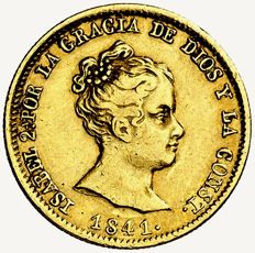 Spain - Isabel II (1833 - 1868), 80 reales gold coin Barcelona, 1841. Assayer P.S.