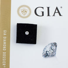 0.27 ct round brilliant cut diamond white F, I1, GIA, laser inscription
