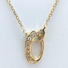 18 kt yellow gold initials necklace with letter 'O' set with diamonds - 0.03 ct G/SI - length 40 cm