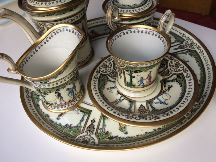 Raynaud coffee set Porcelain Limoges Incrustation Palais Royal - 6 x