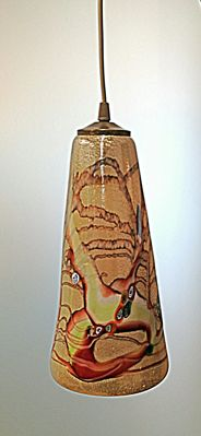 Vetreria Rubelli Vetri d'Arte – Long pendant lamp in chocolate brown/green/ silver-coloured murrine.