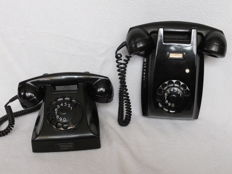 Two Swedish design telephones, Ericsson type 1951 (derived from model 1931 by the Danish artist Jean Heiberg).