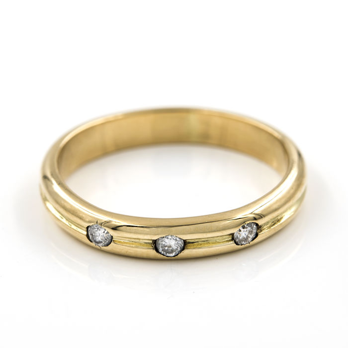 18 kt. Gold, Yellow gold - Ring - 0.10 ct Diamond