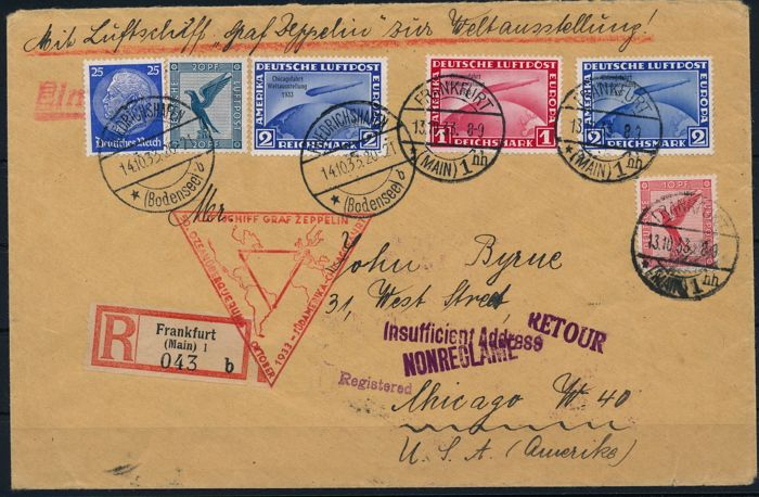 German Empire/Reich - 1933 - R - zeppelin letter with Chicago journey 1 RM, 2 RM (2), Michel 496-497