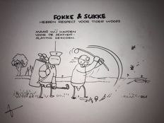 Tol, Jean-Marc van - Original illustration - Fokke & Sukke hebben respect voor Tiger Woods