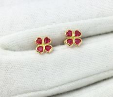 18kt Yellow Gold Four Leaf Clover Stud Womens Earring